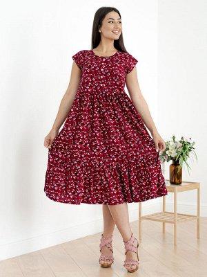 Женское платье Стефани-Ц-4 (Цветы на красном)