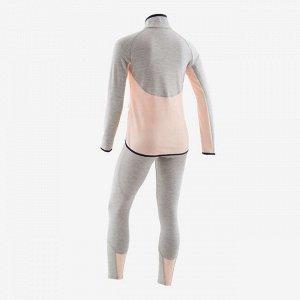"""Костюм тренировочный синтетический """"дышащий"""" S500 для девочек гим. розово-серый DOMYOS"""