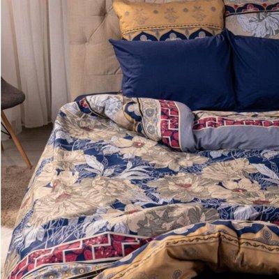 Пледы, полотенца, одеяла, подушки, КПБ — Золото + Синий — Постельное белье