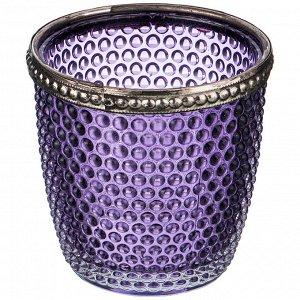 Подсвечник с металл.элементами, д=7,5см, в=7,5см, фиолетовый (кор=36шт.)