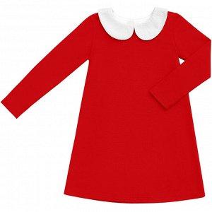 Красное платье с воротничком 8-9