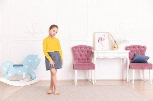 Желтая блузка с длинным рукавом 8-9
