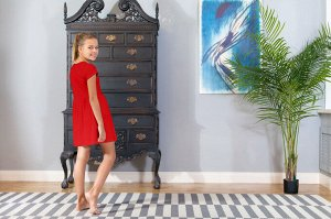 Красное платье с коротким рукавом 12