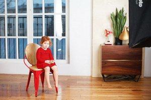 Красное платье с длинным рукавом 2-3