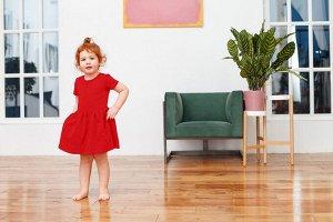 Красное платье с коротким рукавом 2-3