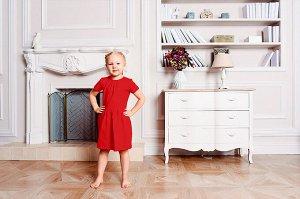 Красное платье с коротким рукавом 6-7