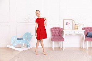 Красное платье с коротким рукавом 10-11