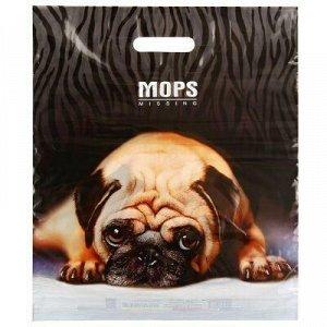 """Пакет подарочный ПВД с вырубной ручкой 40х47см """"Мопс"""", 45 мк"""