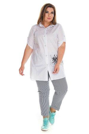 """Брюки-1512 Модель брюк: Дудочки; Материал: Хлопок стрейч;   Фасон: Брюки Брюки 7/8 """"Мелкая полоска"""" Брюки-стрейч отлично подойдут для повседневного гардероба. Модель хорошо сидит за счет комфортной ре"""