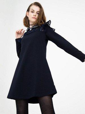Платье А-силуэта для девочки  Цвет:темно-синий