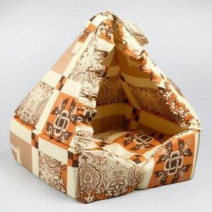 """Домик """"Люлька"""", закрытый, 40х40х45 см, коричневый оттенок"""