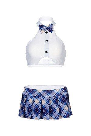 Костюм школьницы Candy Girl Jesse (топ, юбка, стринги), бело-синий, OS