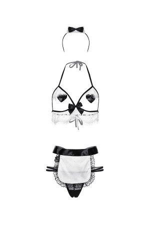 Костюм горничной Candy Girl Ciara (бюстгальтер,стринги,наклейки на грудь,фартук,головной убор), OS