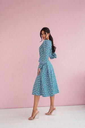 Платье-Миди в горох с пышными рукавами
