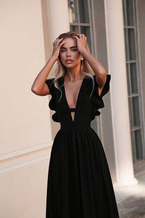 Платье миди из крепа с акцентом на декольте