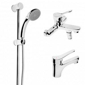 Набор смесителей SONAS SH435-15, 3 в 1, для раковины, для ванны, душевая стойка, хром