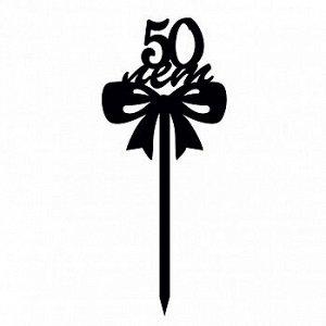 """Топпер """"50 лет, бантик"""" черный 8*9 см"""
