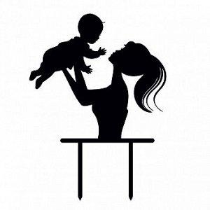"""Топпер силуэт """"Мама и малыш"""" черный 14*14 см"""
