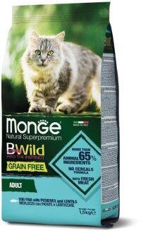 Monge Cat BWild GRAIN FREE беззерновой корм из трески для взрослых кошек 1,5 кг