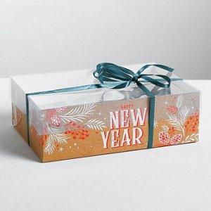 """Коробка для 6 капкейков с прозрачной крышкой «Счастливого Нового года"""",16*23*7,5 см"""