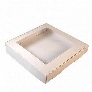Коробка для печенья 19*19*3 см, Белая с окном, 50 шт