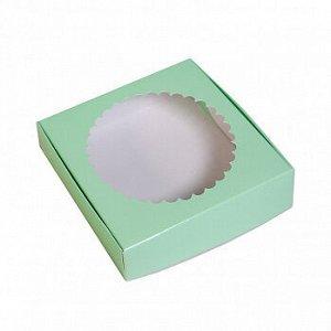 Коробка для печенья 12*12*3 см, Мятная с окном