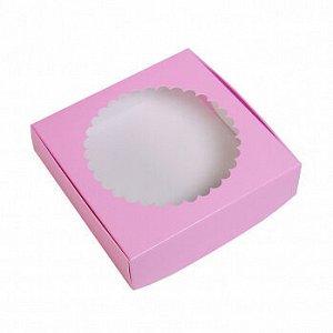 Коробка для печенья 12*12*3 см, Сиреневая с окном