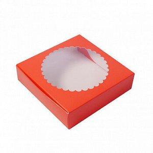 Коробка для печенья 12*12*3 см, Алая с окном