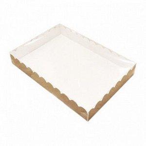 Коробка для печенья 23*30*3 см, Крафт с Прозрачной крышкой