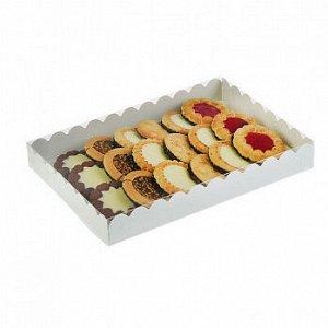 Коробка для печенья 23*30*3 см, белая с прозрачной крышкой, 50 шт