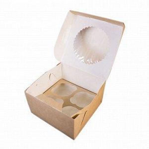 Коробка для капкейков 4 ячеек, Крафт с окном