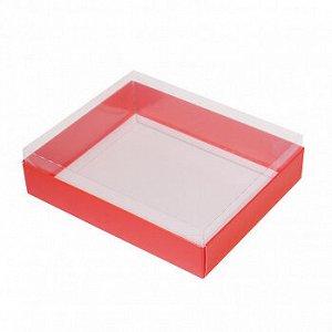 Коробка для пряников с прозрачной крышкой алая, 16*13*4 см