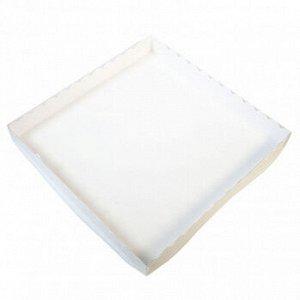 Коробка для печенья 25*25*3 см, белая с прозрачной крышкой, 50 шт