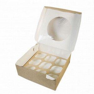 Коробка для капкейков 9 ячеек, Крафт с окном