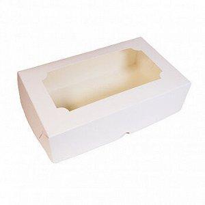 Коробка под зефир 25*15*7 см белая с окном