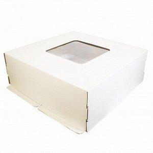 Коробка для торта 42*42*15 см, Белая с окном