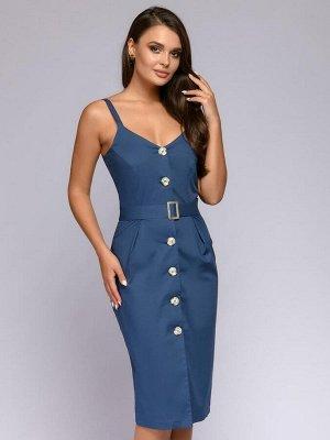 Платье синее на бретелях с разрезом спереди