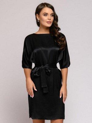 """Платье черное длины мини с поясом и рукавом """"летучая мышь"""""""
