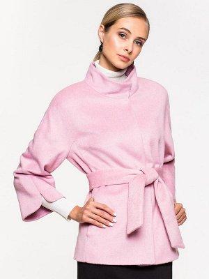 Пальто укороченное розовое с воротником-стойкой