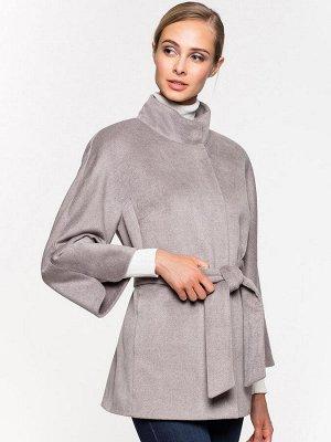 Пальто укороченное серое с воротником-стойкой