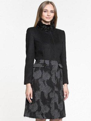 Пальто черное с принтованным низом