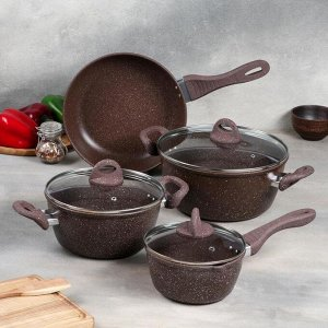 Набор посуды, 4 предмета: кастрюля 3,5 л, сотейник 1,5 л, ковш 0,8 л, сковорода 24 см