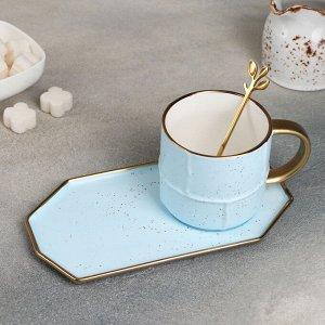 Чайная пара «Весна», кружка 200 мл, блюдце 20?10,5 см, с ложкой, цвет голубой