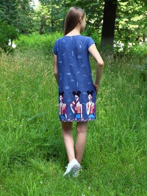 Туника Цвет: джинс; Состав: Хлопок 100%; Материал: Кулирка Летняя туника с карманами, хорошо сочетается с любыми босоножками и кроссовками.