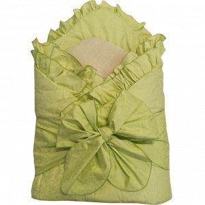 Конверт- одеяло с завязкой Салатовый (меховая вставка)