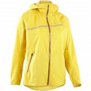 Водонепроницаемая куртка для трейлраннинга женская желтая EVADICT