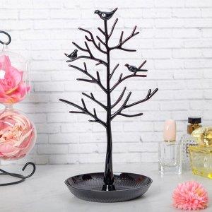 """Подставка для украшений """"Птички на дереве"""", 15,5*15,5*32 см, цвет чёрный"""