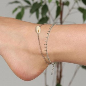 "Браслет на ногу две нити ""Ракушка"" цвет серебро,L=19см"