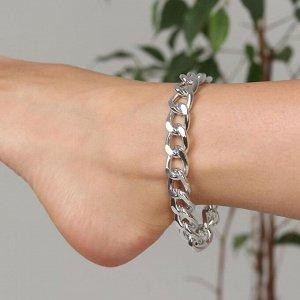 """Браслет на ногу """"Крупная цепь"""" цвет серебро,L=21см"""