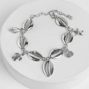 "Браслет на ногу ""Море"" черепашки, цвет серебро,L=16см"